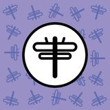 Libellenikonenzeichen und -symbol auf purpurrotem Hintergrund Stockfoto