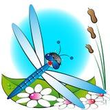 Libellula e fiori, illustrazione dei bambini Fotografia Stock Libera da Diritti