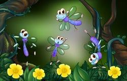 Libellule che volano nella foresta profonda Fotografia Stock