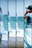 Libera circolazione delle donne - riposi, rilassamento sulla spiaggia del mare fotografie stock libere da diritti