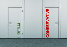Liberal or conservative, concept of choice. Closed doors with printed marks as concept of decision making, options, strategy and dilemmas royalty free stock photos