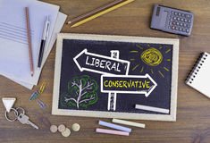 Liberal - Conservative signpost drawn on a blackboard.  stock images