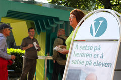 Liberal Party campaign stand. A campaign stand belonging to the Norwegian Liberal Party (Norwegian: Venstre) during a local election campaign in Oslo Royalty Free Stock Photos