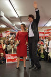 Liberal Party leader Justin Trudeau with Chrystia Freeland. Justin Trudeau at Chrystia Freeland Rally in Toronto, October 2, 2013 stock photo