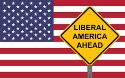 Liberal person Amerika som varnar framåt tecknet arkivfoton