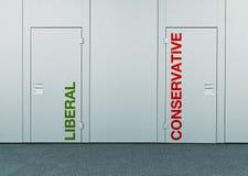 Liberal person eller konservativ person, begrepp av valet royaltyfria foton