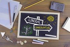 Liberal person - konservativ vägvisare som dras på en svart tavla arkivbilder