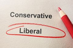 Liberal red circle. Liberal circled in red pencil, below Conservative text Royalty Free Stock Image