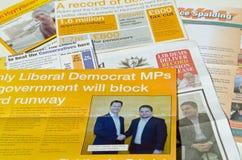 Liberaldemokrat-Parteikampagnenbroschüren Stockfotos