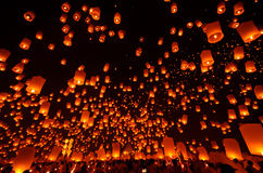 Liberate the lantern. In thailand royalty free stock photography