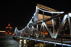 Liberation Bridge night. Tianjin Liberation Bridge on Haihe River,photographed in a winter night royalty free stock photography