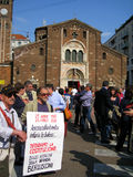 Liberation Day protest in Milan,Italy, Royalty Free Stock Image