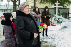 Liberation day in a Russian village in the Kaluga region January 29, 2016. Stock Image