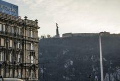 Liberation Monument. Budapest Hungary -February 5th 2018 - View of Liberation Monument from the Pest side of the Elizabeth Bridge Stock Image