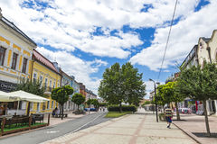 The Liberation Square in Michalovce city, Slovakia. MICHALOVCE, SLOVAKIA - JULY 3, 2017: The Liberation Square Slovak: Namestie osloboditelov, the central square Stock Photography