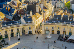 Liberation square place de la liberation, in Dijon. DIJON, FRANCE - OCTOBER 15, 2016: An aerial view of the liberation square place de la liberation, with locals Stock Photography