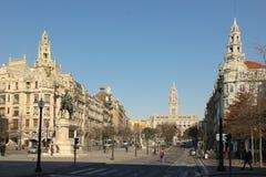 Liberdade广场。波尔图。葡萄牙 免版税库存图片