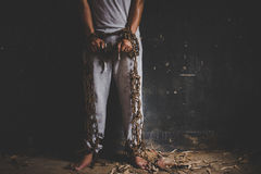 Liberdade da falta dos povos sendo interrompido Conceito do direito humano fotografia de stock