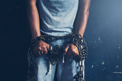 Liberdade da falta dos povos sendo interrompido Conceito do direito humano imagens de stock royalty free