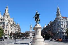 Liberdade kwadrat z zabytkiem królewiątko Peter IV i Porto urząd miasta, Porto, Portugalia Obrazy Stock
