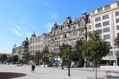 Liberdade obciosuje Porto urząd miasta, Porto, Portugalia Zdjęcia Stock