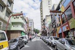 Liberdade, Sao Paulo SP Brazil. Sao Paulo SP, Brazil - March 03, 2019: Local commerce on the Rua dos Estudantes students street at Liberdade neighborhood. Street stock image
