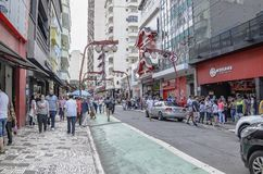 Liberdade, Sao Paulo SP Brazil. Sao Paulo SP, Brazil - March 03, 2019: Stores and commerce on the Galvao Bueno street at Liberdade neighborhood. Street with royalty free stock image