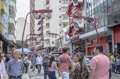 Liberdade, Sao Paulo SP Brazil. Sao Paulo SP, Brazil - March 03, 2019: Stores and commerce on the Galvao Bueno street at Liberdade neighborhood. Street with stock image