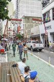 Liberdade, Sao Paulo SP Brazil. Sao Paulo SP, Brazil - March 03, 2019: Stores and commerce on the Galvao Bueno street at Liberdade neighborhood. Street with royalty free stock photos