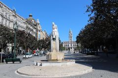 Liberdade square with monument of King Peter IV and Porto city hall, Porto, Portugal stock photography