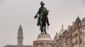 Liberdade square with monument of King Peter IV stock video footage