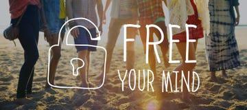Libere su concepto de la actitud de la conciencia de la mente imagenes de archivo