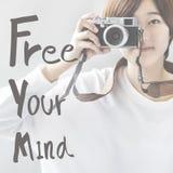Libere su concepto positivo de la frialdad de la relajación de la mente fotografía de archivo