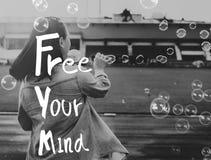 Libere su concepto positivo de la frialdad de la relajación de la mente fotografía de archivo libre de regalías