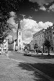 Liberec, Czech republic - Juny 10, 2017: Sokolovske Namesti square with Kostel sv. Antonina Velikeho church  in summer evening Stock Photography