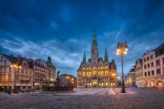 Liberec, Czechia. View of main square with Town Hall at dusk