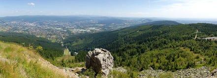 Liberec stad från skojat Royaltyfri Fotografi