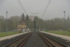 Liberec stad i mörk molnig morgon Fotografering för Bildbyråer