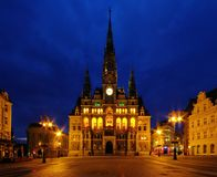 Liberec townhall night Stock Photo