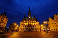 Liberec townhall night Royalty Free Stock Image