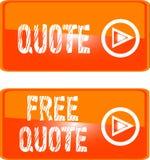 Liberi l'arancio del tasto di Web di virgoletta Immagine Stock
