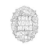 Liberi la vostra mente - iscrizione della mano e scarabocchia lo schizzo degli elementi sulla E Illustrazione di Stock
