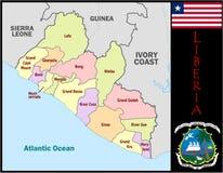 Liberia Administrative divisions. Liberia map flag and coat Stock Photos
