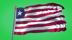 Liberia animated flag pack in 3D and green screen royalty free illustration