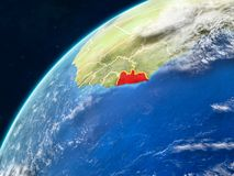Liberia on Earth with borders. Liberia on realistic model of planet Earth with country borders and very detailed planet surface and clouds. 3D illustration royalty free stock photography