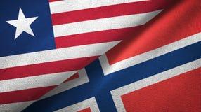 Liberia en Noorwegen twee vlaggen textieldoek, stoffentextuur stock illustratie