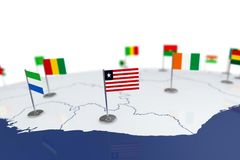 Liberia flag. Country flag with chrome flagpole on the world map with neighbors countries borders. 3d illustration rendering flag Royalty Free Stock Images
