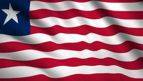 Liberia flag Motion video waving in wind. Flag Closeup 1080p HD  footage royalty free illustration
