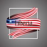 Liberia flag. Official national colors. Liberian 3d realistic ribbon. Waving vector patriotic glory flag stripe sign. Vector illustration background. Icon Royalty Free Stock Photography