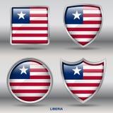 Liberia flaga w 4 kształtach inkasowych z ścinek ścieżką Fotografia Stock